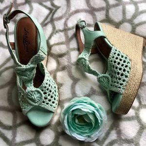Lucky Brand Mint Green Crochet Wedge